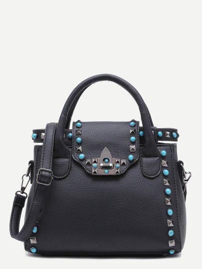 PU Verschluss Handtasche mit Bügel 2017 Schwarz