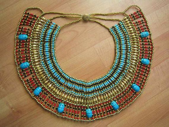 Amazing Egyptian Handmade Belly Dance Costume of Ancient CLEOPATRA Beaded Necklace Collar