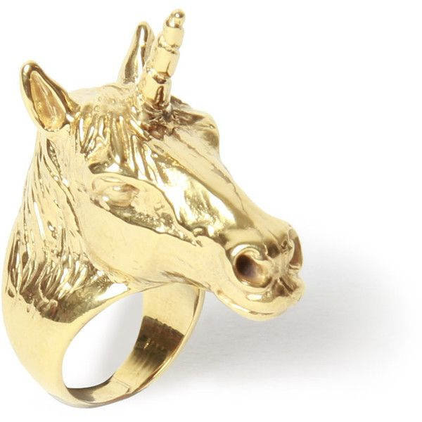 LeiVanKash Gold Unicorn Ring found on Polyvore