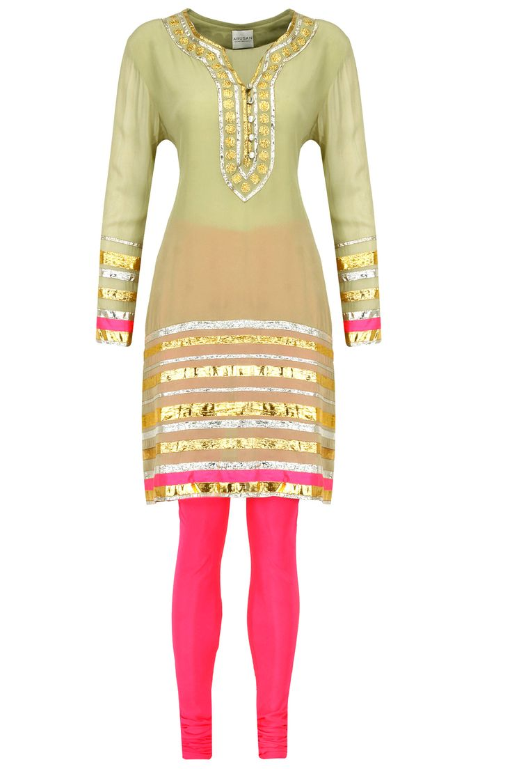 Pista green gota embroidered kurta set available only at Pernia's Pop-Up Shop.