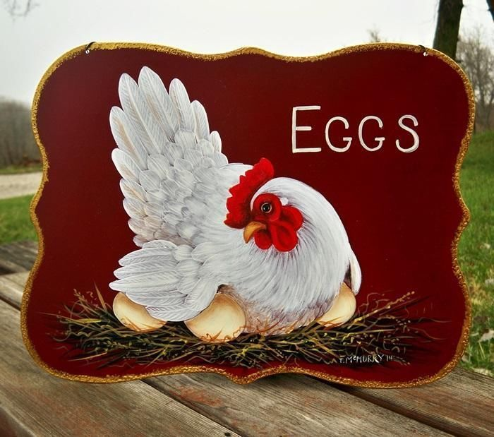 Chicken And Rooster Decor Part - 49: 12in X 9in Red Tin Sign HP HEN EGGS HandPainted French Country Rooster Art  Trish McMurry