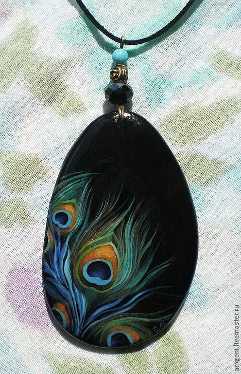 """Купить Кулон """"Поймать удачу"""" - синий, лаоввая миниатюра, ручная роспись, перо…"""