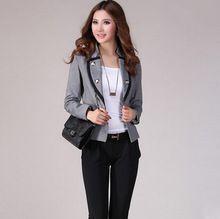 Nueva moda de primavera chaqueta de traje doble botonadura abrigo corto para mujer de la oficina Blazer negro / gris tamaño grande mujeres chaqueta(China (Mainland))