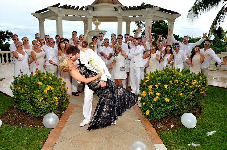 Sandals Grand Riviera, destination wedding, bride wore navy blue wedding dress the rest of the group wore white!