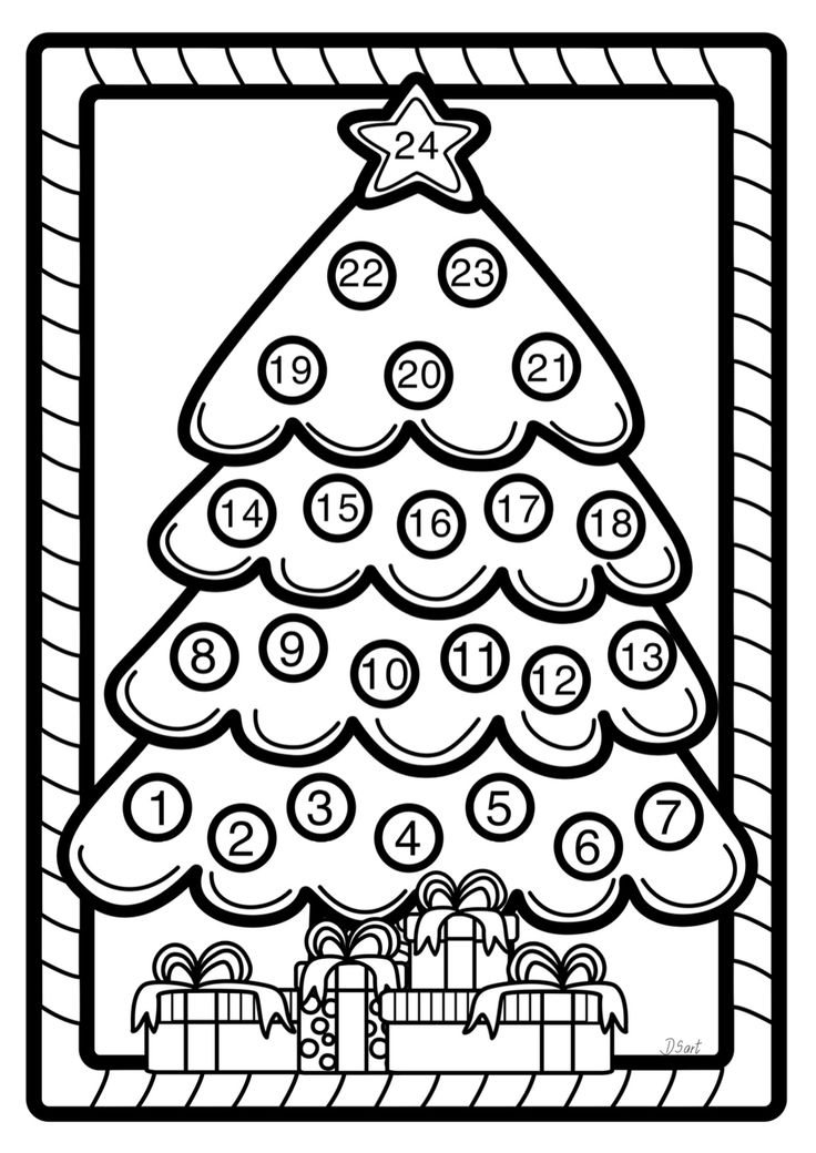 438 Best Advent Images On Pinterest Advent Christmas Tree Countdown Coloring Page