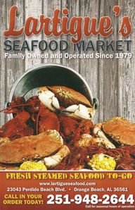 Lartigue Seafood, Orange Beach Alabama. Featured Fresh Steamed Seafood to Go, Packaged Seafood, Fishing Supplies, Souvenirs, Fishing Charters, and more!