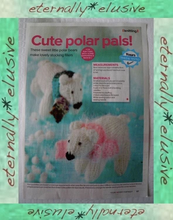 Childrens Polar Bear Christmas Toy Stocking Filler Decoration *KNITTING PATTERN*