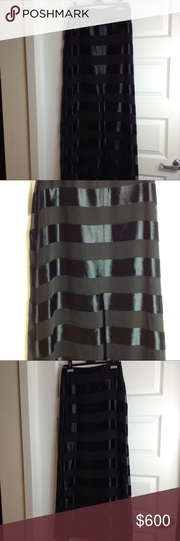 Giorgio Armani Maxi Skirt Giorgio Armani black and velvet stripe Maxi Skirt with front slit Giorgio Armani Skirts Maxi