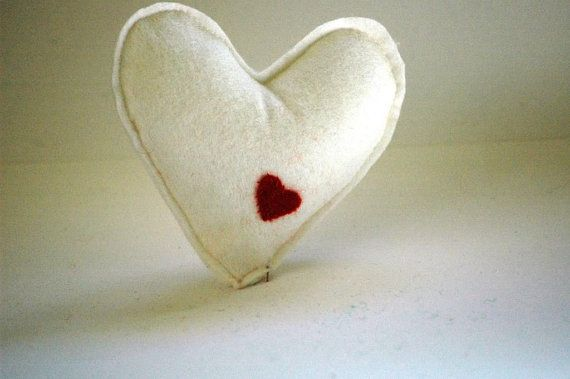 White Heart with red mini heart detail  by TheNataleStore on Etsy, $8.70