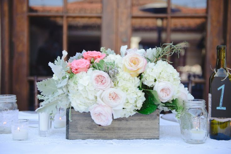 Mint and Peach wedding centerpieces pictures catalog photo