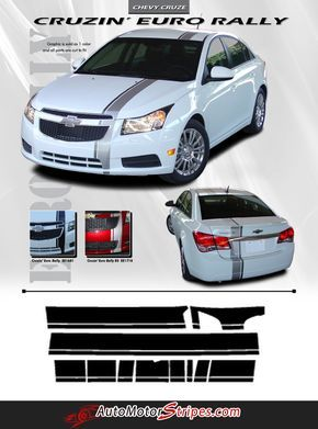 2011-2016 Chevy Cruze E-Rally Euro Style Racing Stripes Hood Roof Trunk Bumpers 3M Vinyl Graphics Kit