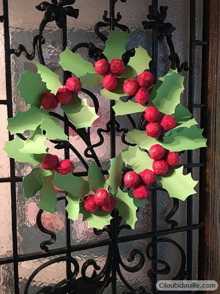 Calendrier de l'avent couronne de houx | Ciloubidouille Homemade advent calendar - Paper Holly Leaf - Christmas