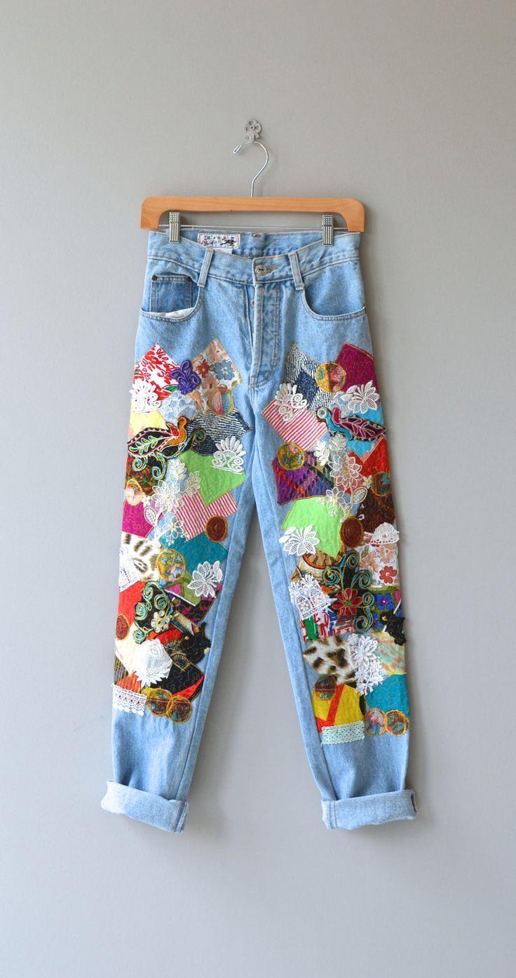 Счастливые джинсы пэчворк старинные 1980-х годов джинсовые высоким по DearGolden