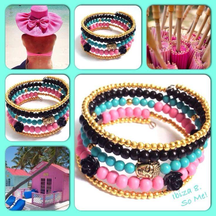 Ibiza! Moderne, mooie zelfgemaakte armbanden, glas parels, glas kralen , Memory wire, http://some-accessoires.nl