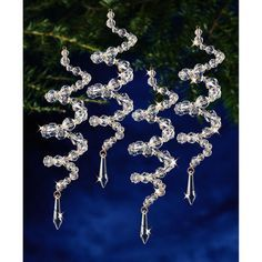 """Holiday Beaded Ornament Kit-Crystal Spirals 6.5"""" Makes 8"""