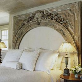luxury french button tufted beds | Antique millwork repurposed to create this beautiful headboard. An ...