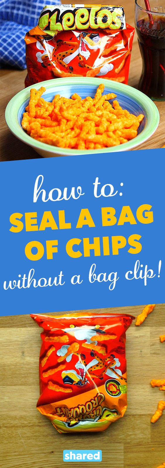 How To: Seal a Bag of Chips (Without a Bag Clip!) - Keeping your favorite snacks fresh is important but why search through countless drawers for clips and ties?   This simple kitchen hack will ensure your goodies are safely stored until your next snack time!