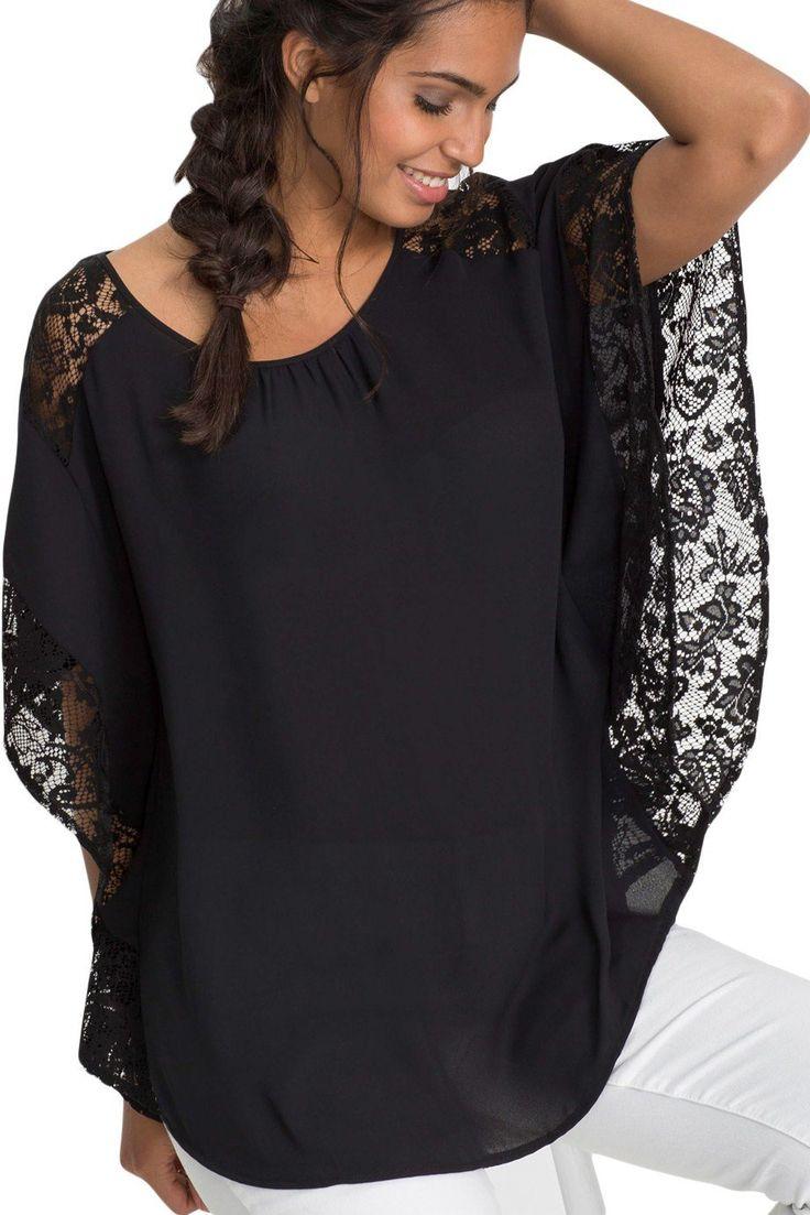 Black Lace Splice Batwing Sleeve Chiffon Blouse