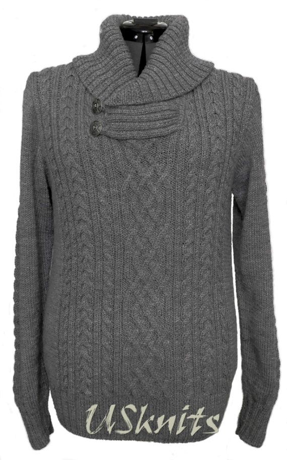 Hand knit chunky men pullover, knit pullover, aran pullover, knit men  sweater,