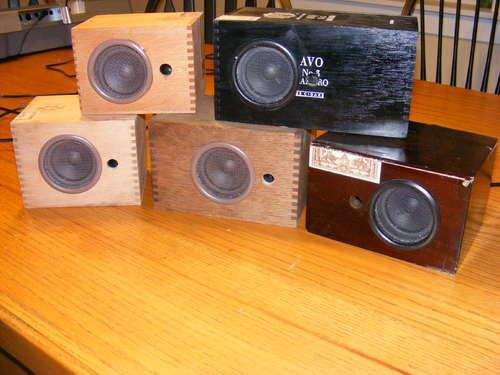 This is a step by step instruction on how to make speaker boxes from old wooden cigar boxes.  http://www.instructables.com/id/Cigar-Box-Speaker-Cabinets/    I'm trying this one after I get all the parts.  They sell on etsy for fifty to two-hundred fifty dollars.