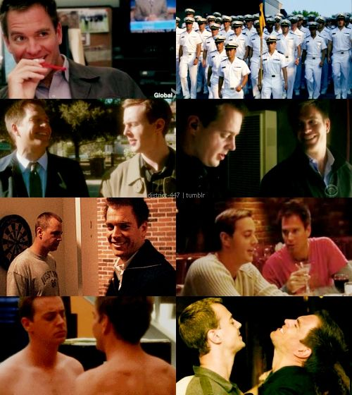 """district-447: """"AU Meme: FORBIDDEN LOVE (Starring: Michael Weatherly and Sean Murray) - requested by: tims-memories """" Tim is a Navy Marine and Tony is a bad boy working his way through a bar job and they meet and instantly fall for each other despite..."""