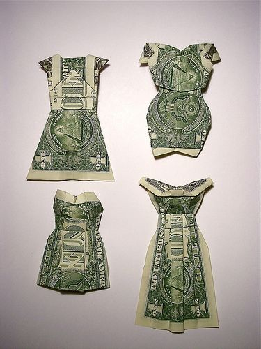 money dresses--put these on cards or in a money holder- creative idea for gifting money. #diy #crafts #wedding www.BlueRainbowDesign.com