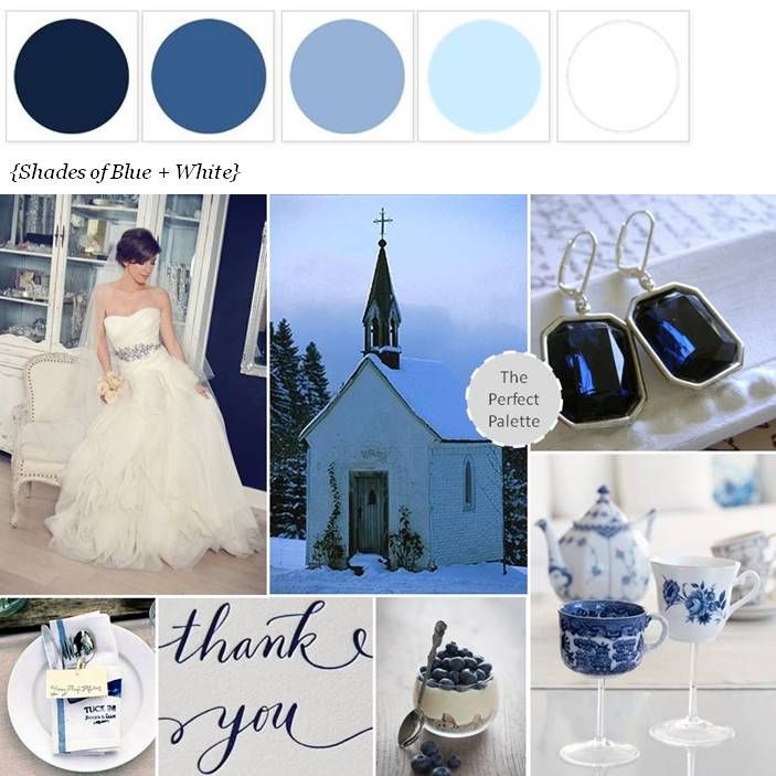 Sweet snowy chapel shades of blue white a start for Winter wedding color palettes