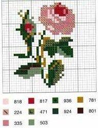 cross stitch rose and bud