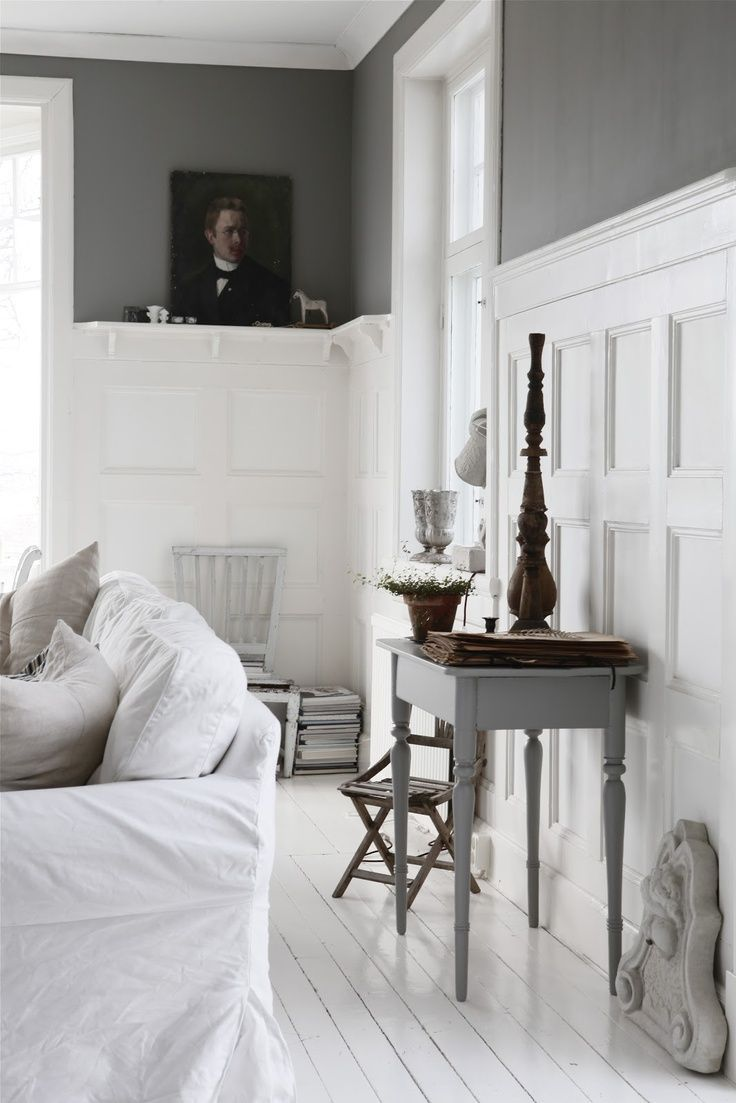 white wainscoting  charcoal gray paint