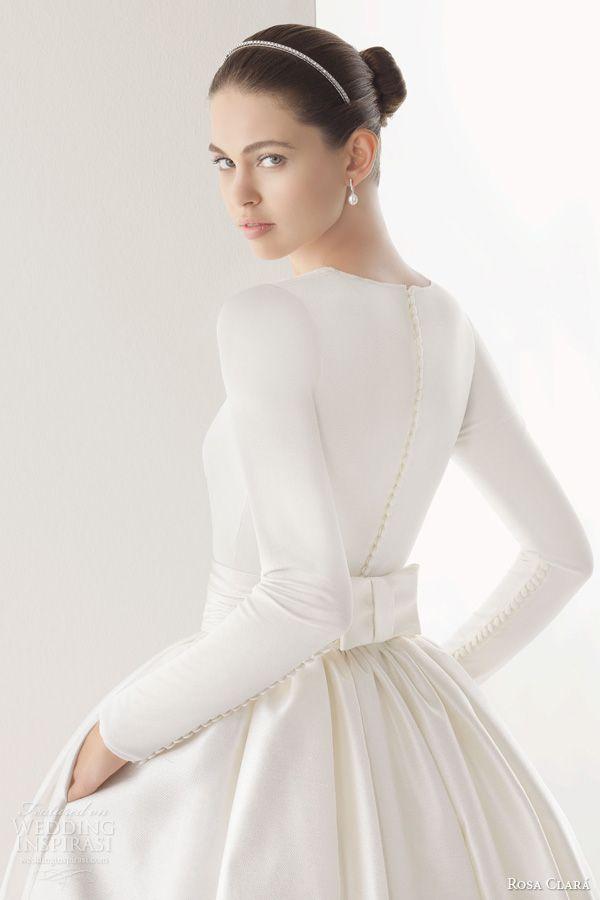 rosa clara 2014 corcega tulle silk organza ball gown wedding dress long sleeve top buttons