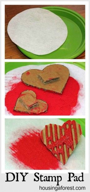 Cut felt to fit the bottom of a plastic lid or plate, pour paint (add a pinch of salt), put felt on top.  Choose your own paint, rinse the felt and reuse.  Easier for kids than those tiny stamp pads.