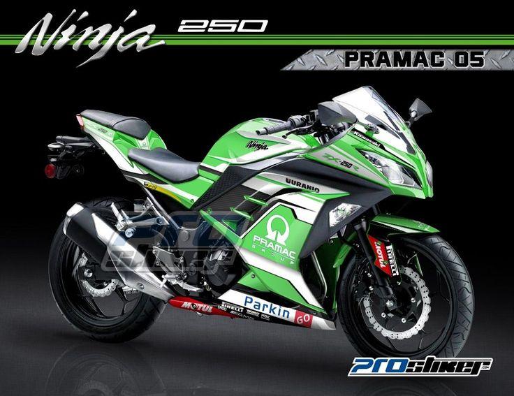 Stiker motor ninja 4 tak 250 fi wana hijau desain motogp replica pramac racing 05