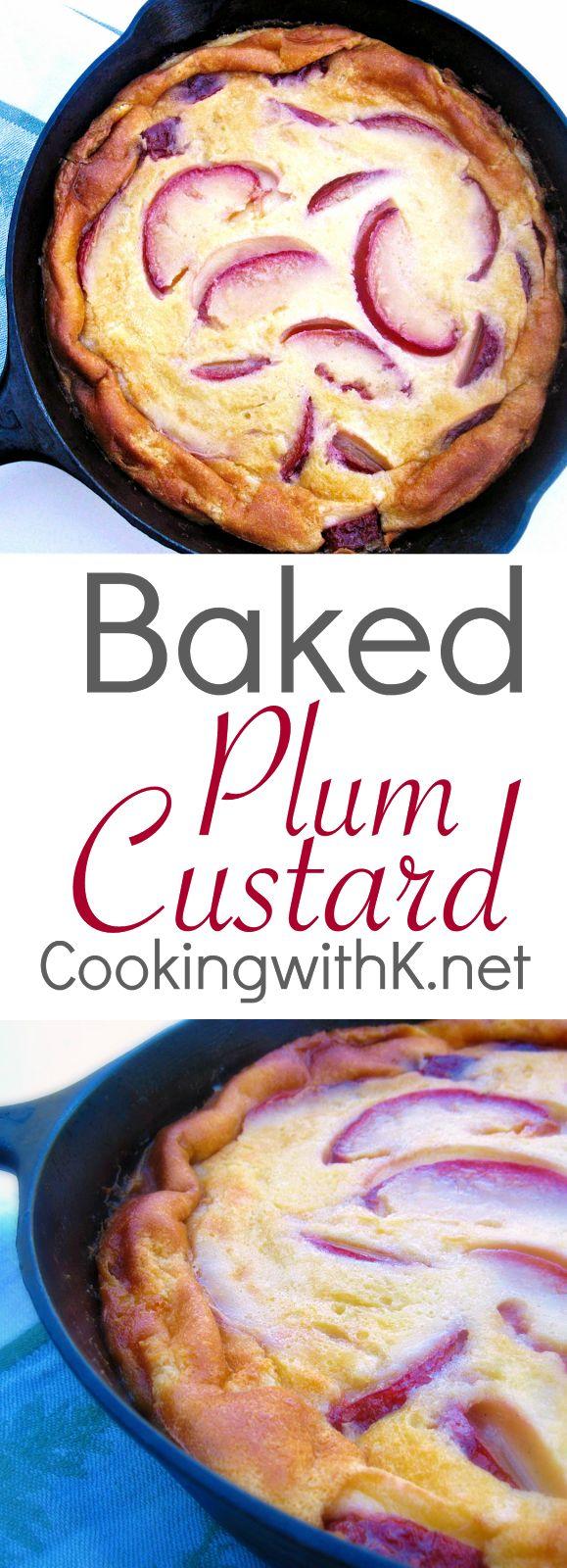 Simple Baked Plum Custard