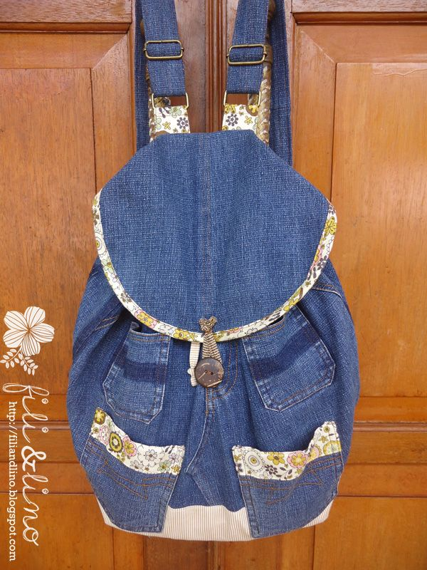 Fili y Lino Crafting Haven: Reciclar Jeans / Denim Mochila Tutorial