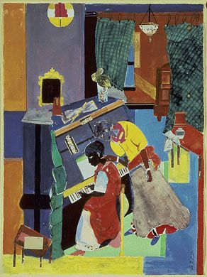Romare Bearden, Piano Lesson, 1983  collage of various papers with paint, ink, and graphite on paper