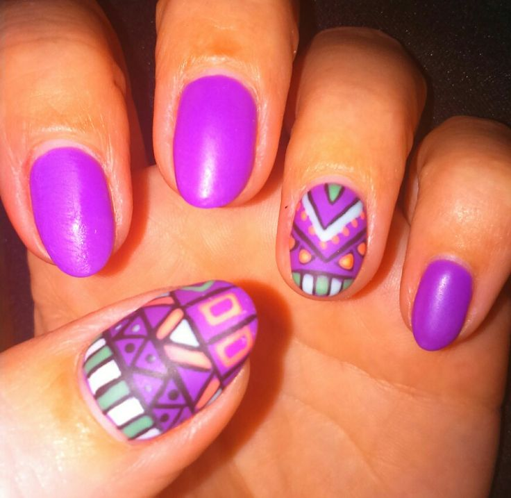 Gel it matte purple astect nails