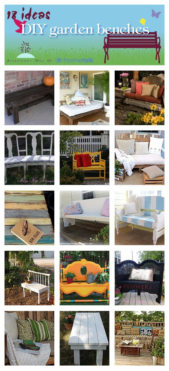 18 DIY bench ideas; mostly from repurposed items.