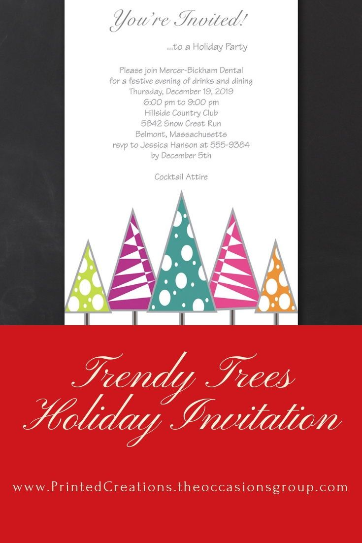Trendy Trees Corporate Holiday Party Invitations Corporate