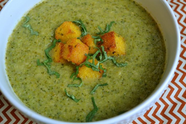 "Broccoli ""Cream"" Soup with Polenta Croutons"