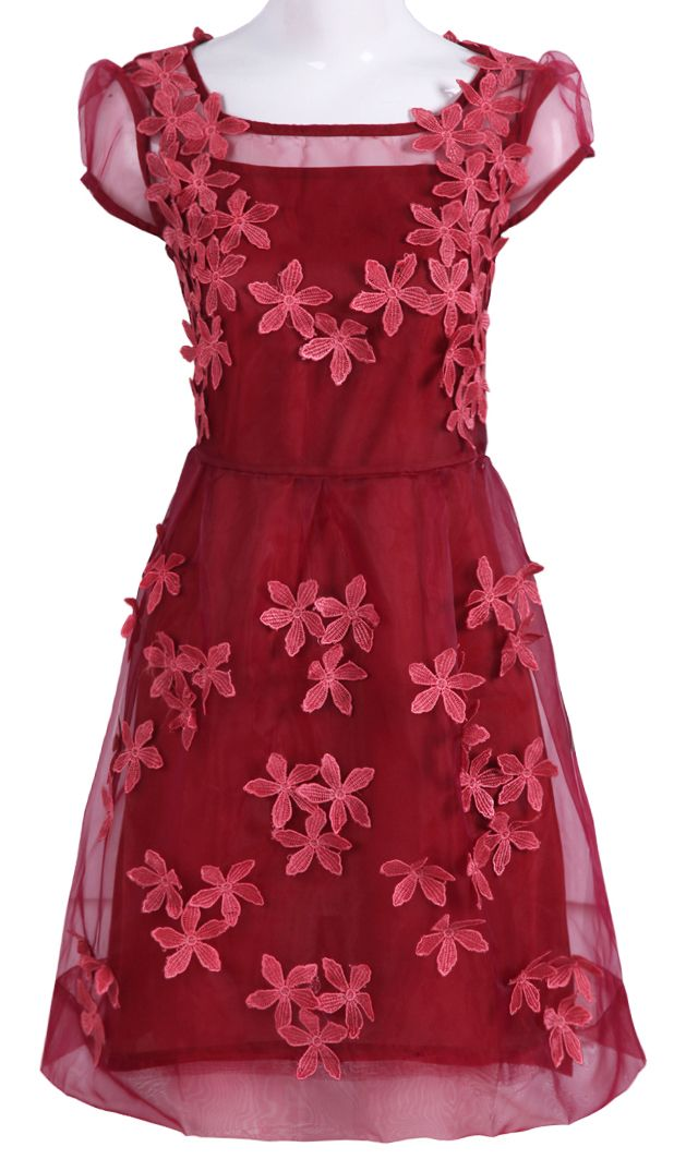 Dark #Red #Short Sheer Sleeve 3D #Flowers A-line #Dress