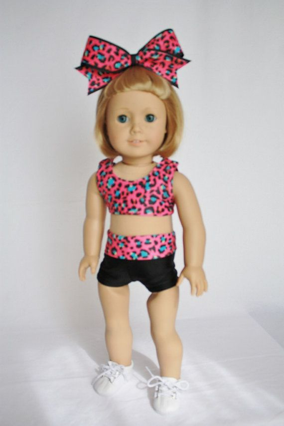 "American Girl  18"" Doll Clothes and Accessories -  Cheer Sports Bra and Shorts - Pink Cheetah on Etsy, $20.00"