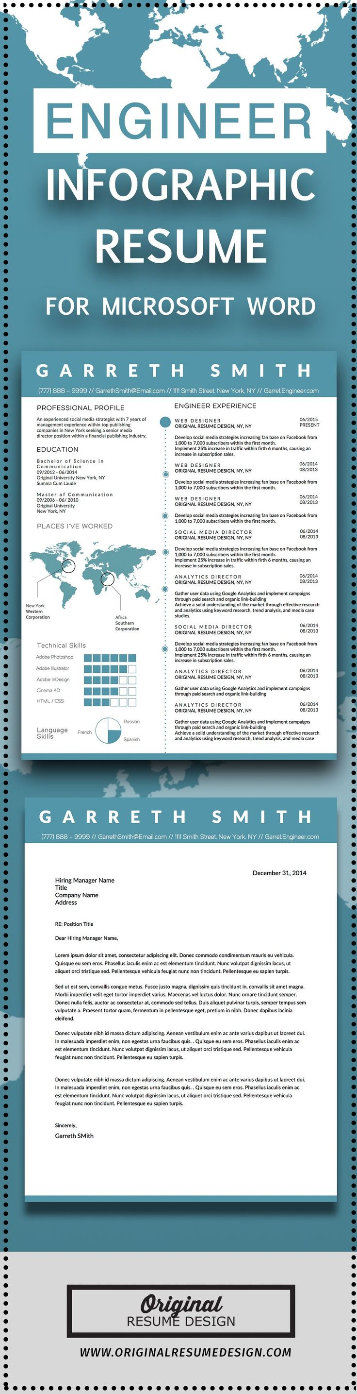 Creative Infographic Clean Business Resume Template for Microsoft Word. Perfect for Engineers, Software Developers, and many more career paths.