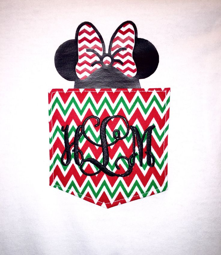 Monogrammed Chevron Pocket Shirt with Christmas Mouse in Pocket by BurlapandLaceSC1 on Etsy
