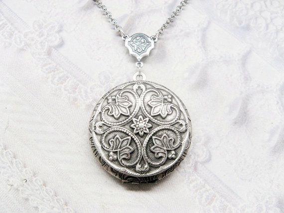 Silver Locket Necklace  Silver FLOWER LOCKET  Celtic by birdzNbeez, $32.00