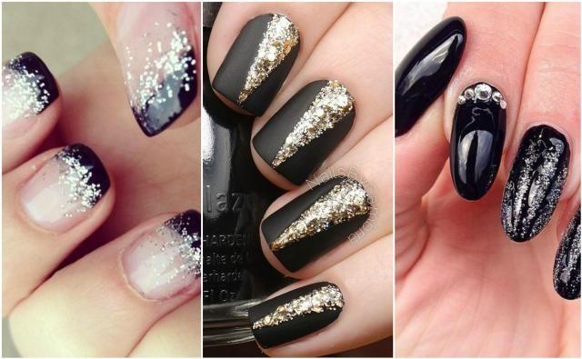 Wzory na paznokcie hybrydowe na sylwestra #paznokcie #manicure #wzory #pazurki