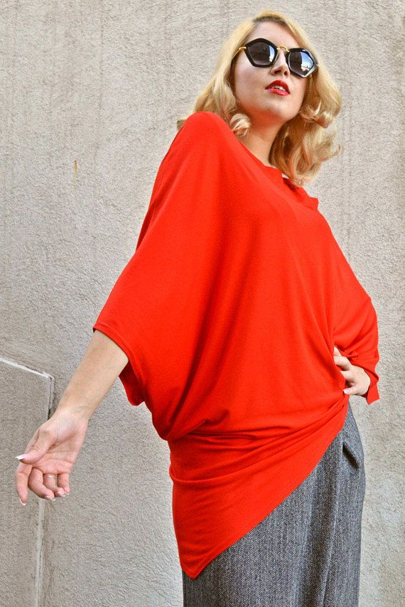 Red Top / Red Viscose Top / Kimono Top / Asymmetrical Loose https://www.etsy.com/listing/252876988/red-top-red-viscose-top-kimono-top?utm_campaign=crowdfire&utm_content=crowdfire&utm_medium=social&utm_source=pinterest