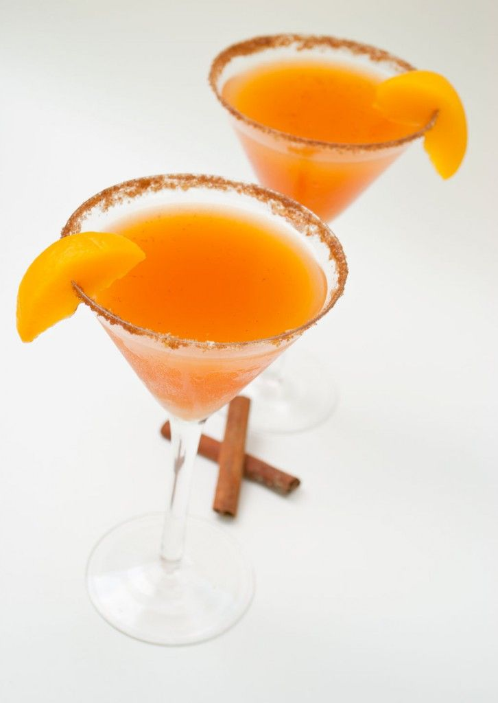 Peach Cobbler Martini:      1 1/4oz cake or whipped cream vodka, 1/4oz Frangelico, 1/3cup peach nectar or juice.   Rim glass with the following:     1 crushed graham cracker, 1tsp br sugar, 1/4tsp cinnimon    Shake and pour!