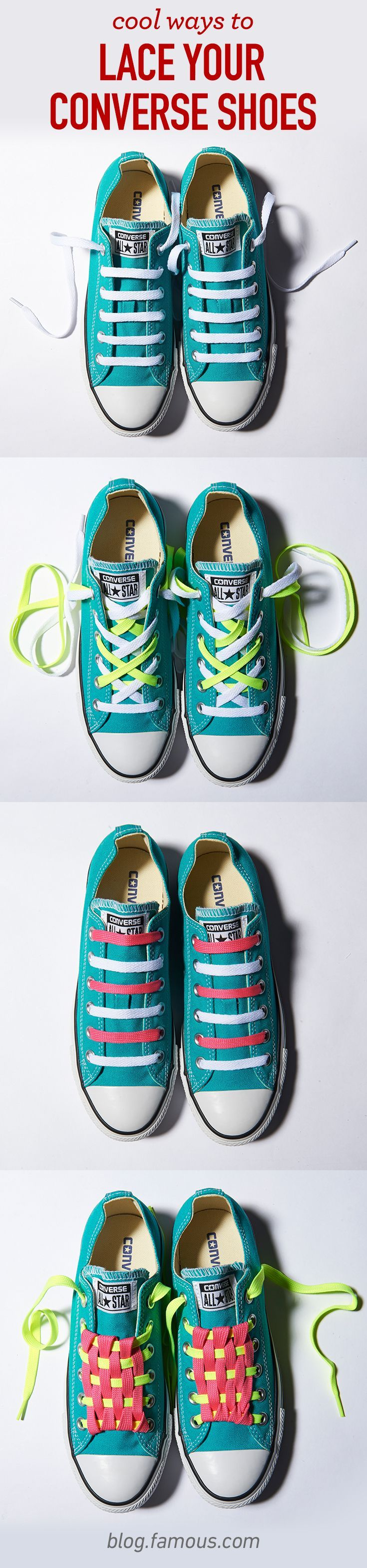 DIY laces are a great way to customize your Converse shoes! Check out the step-by-step instructions on our blog.