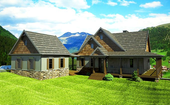 Open floor plan with wrap around porch mountain house for Wrap around porch house plans