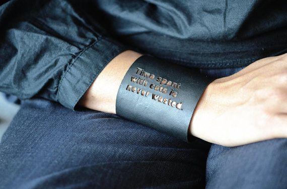 Leather Cuff Bracelet. Cuff Bracelet Personalized. by ZoraDesign